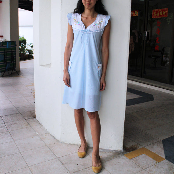 Baby Blue Checked Dress (40% OFF)