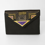 'Whiting and Davis' Black Embroidered Clutch