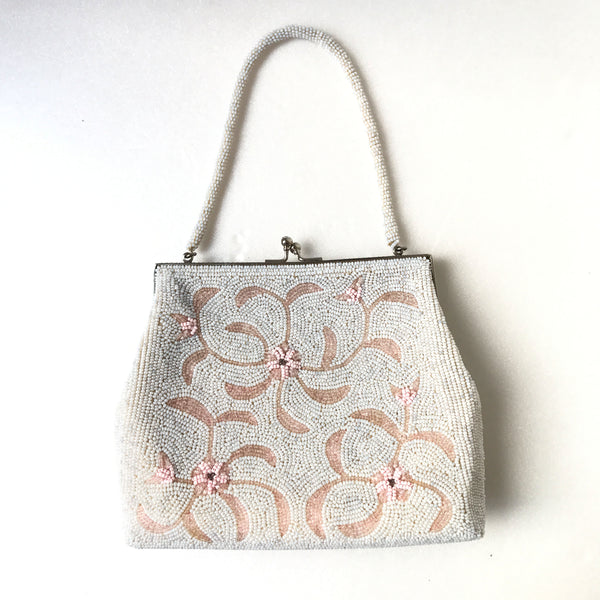 Peach Floral Beaded Bag