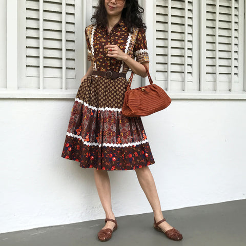 Coffee Brown Floral Dress (10% OFF)