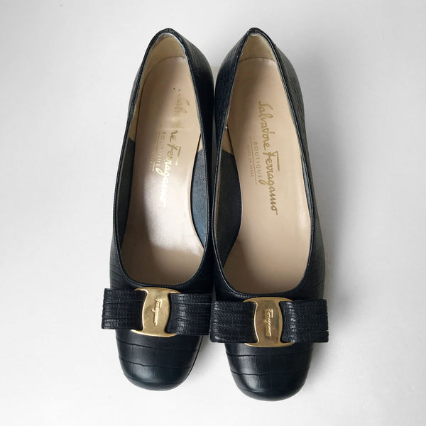 Ferragamo Heels In Dark Navy