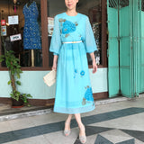 Aquamarine Chiffon Floral Dress