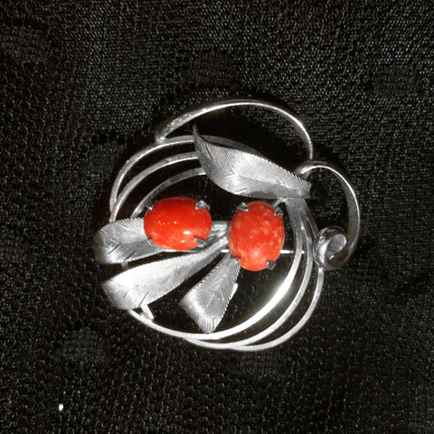 Coral Filigree Leaves Brooch