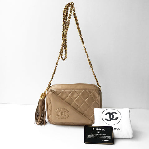 Chanel Beige Lambskin Camera Bag