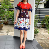 Tri Colour Batik Dress