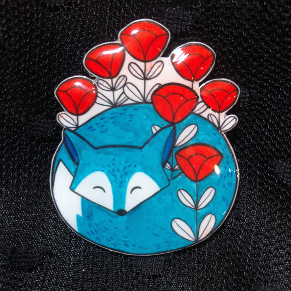 Blue Fox Brooch