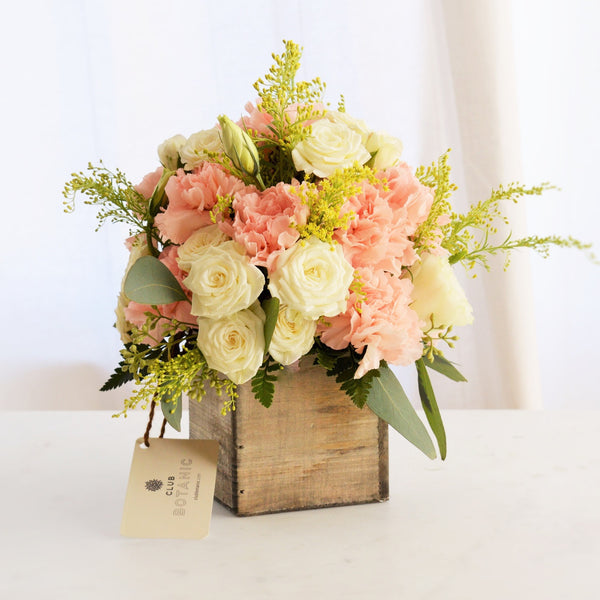 Pink and White Flower Bouquet with White Spray Roses, Pink Carnations and Yellow Solidago