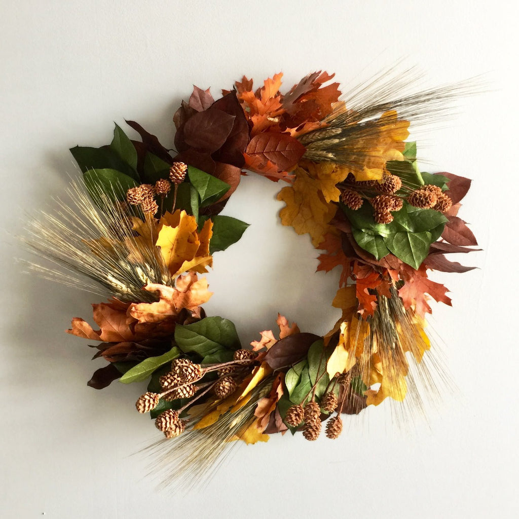 Red Leaf Wreath | Rustic Oak Wreath | Orange Oak Wreath | Wheat Wreath for Front Door | Bearded Wheat and Oak Leaf Wreath
