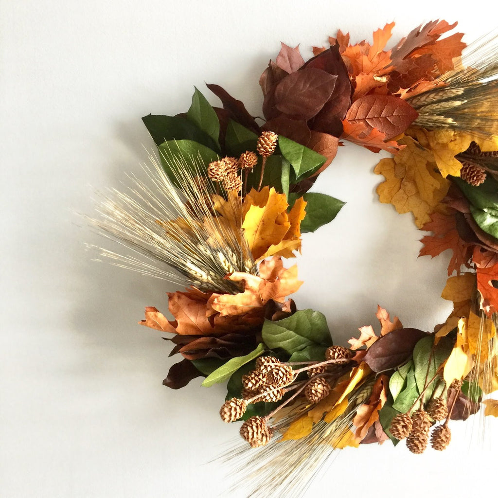 Mini Pinecone Wreath | Club Botanic | Preserved Oak Wreath | Preserved Oak Leaf Wreath Red | Dried Oak and Wheat Wreath | Preserved Salal and Pinecone Wreath for Fall | Autumn Door Wreath Bearded Wheat