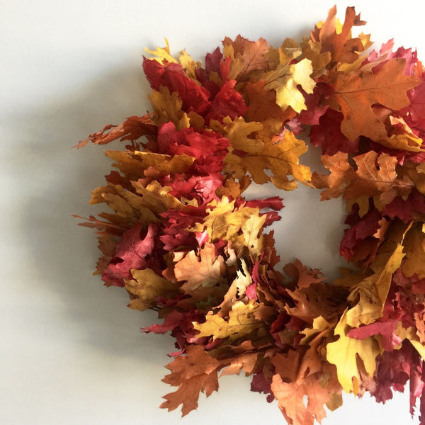 Red Leaf Wreath | Rustic Oak Wreath | Orange Oak Wreath | Fall Oak Wreath for Front Door | Multicolor Oak Leaf Wreath