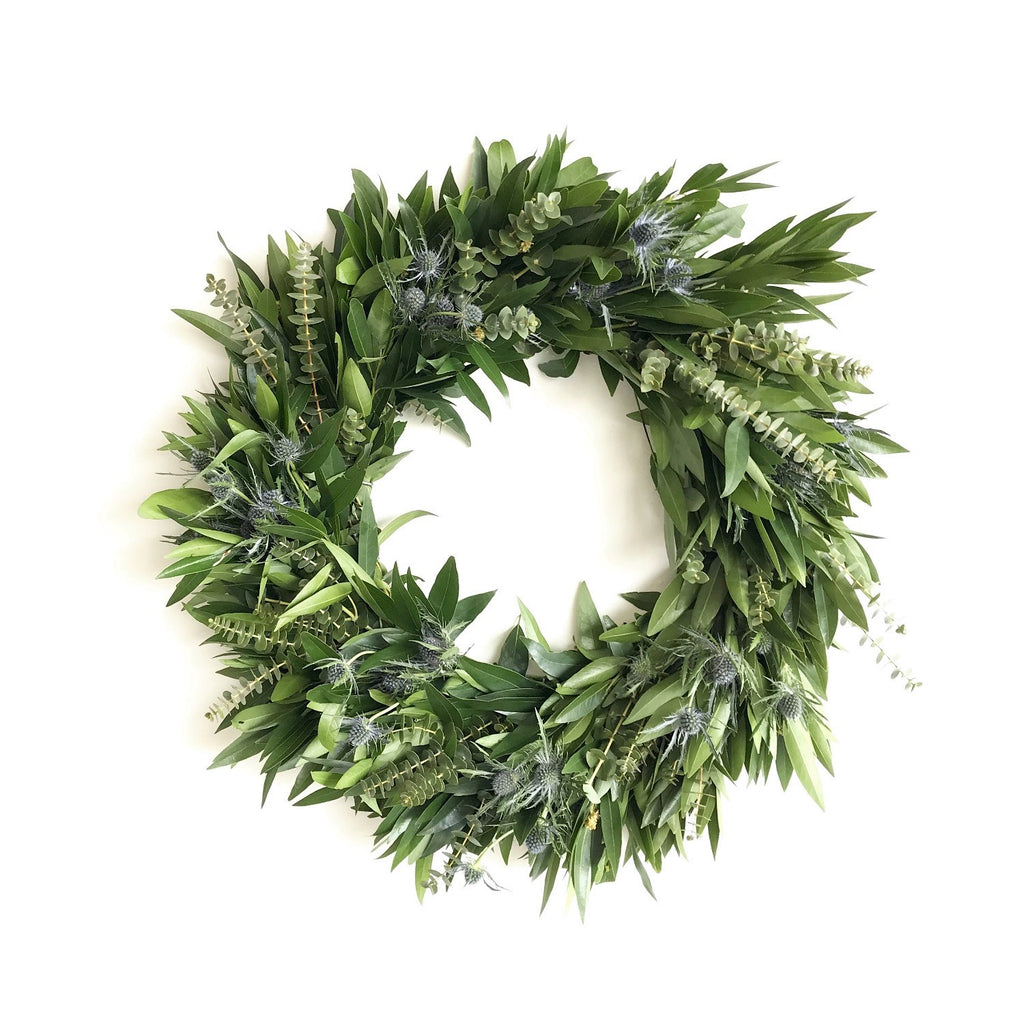 Bay and Thistle Wreath | Club Botanic | Fresh Wreath for the Autumn | Fall Wreath for Door | Baby Eucalyptus and Bay Leaf Wreath for Autumn | Blue Thistle Wreath for Autumn | Echinops Wreath for Autumn | Fresh Bay Wreath for Thanksgiving