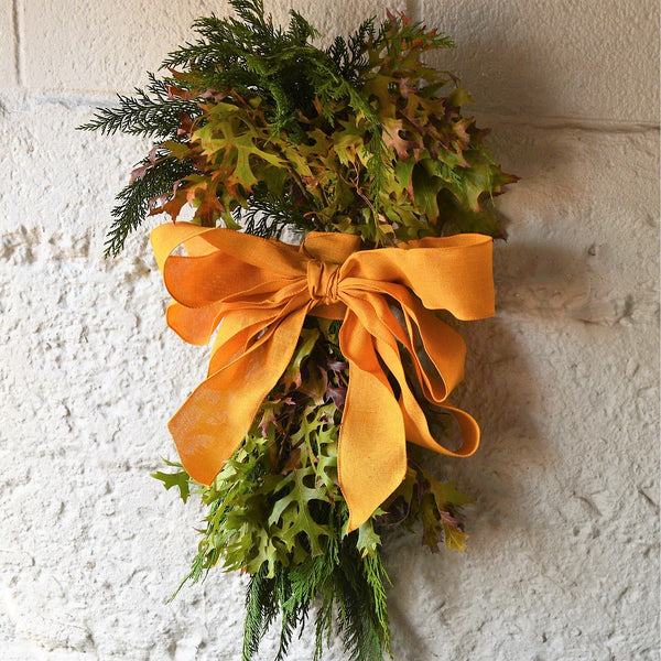 Berkeley Hills Oak Swag - Club Botanic | Door Swag for Fall | Fall Oak Swag with Yellow Bow | Swag Wreath | Cedar and Oak Swag