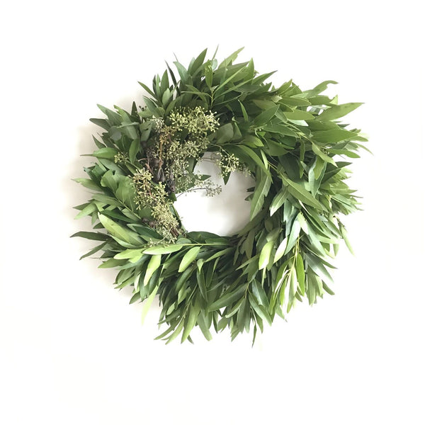 Big Basin Bay Wreath | Fresh Bay Leaf Wreath | California Bay Wreath | Laurel Bay Wreath | Fall Wreath for Front Door | Holiday Wreath with Bay | Bay Christmas Wreath | Seeded Eucalyptus Wreath | Eucalyptus Pod Wreath