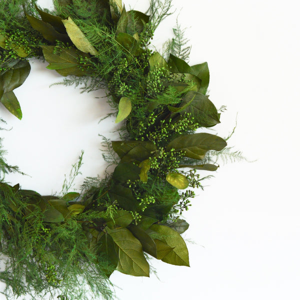 Preserved Salal Wreath | Preserved Eucalyptus Wreath | Preserved Seeded Eucalyptus Wreath | Plumosus Fern Wreath