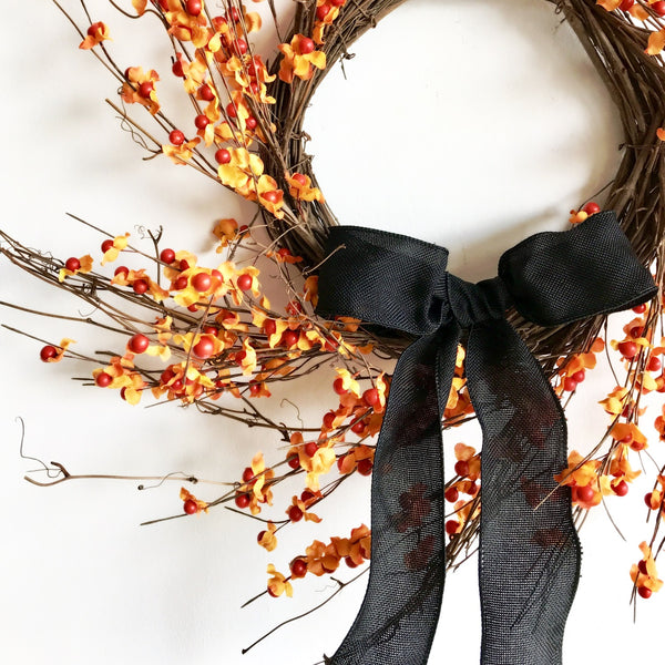 Black Ribbon on Orange Wreath for Halloween | Orange and Black Wreath for Halloween | Black and Orange Wreath for Halloween | Orange Berry Wreath