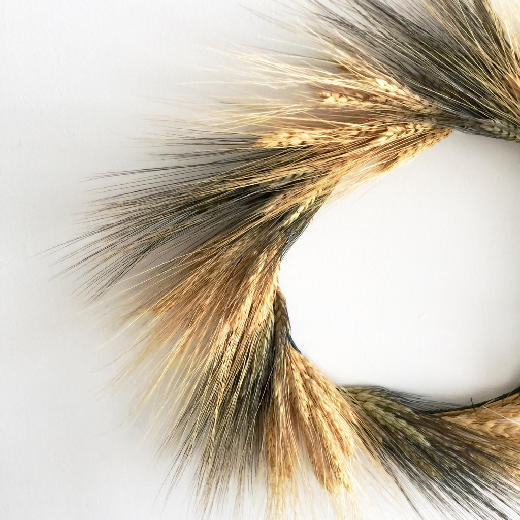 Harvest Wheat Wreath | Wheat Wreath for Fall | Dried Wheat Wreath | Preserved Wheat Wreath | Black Wheat Wreath | Black and Blond Bearded Wheat Wreath