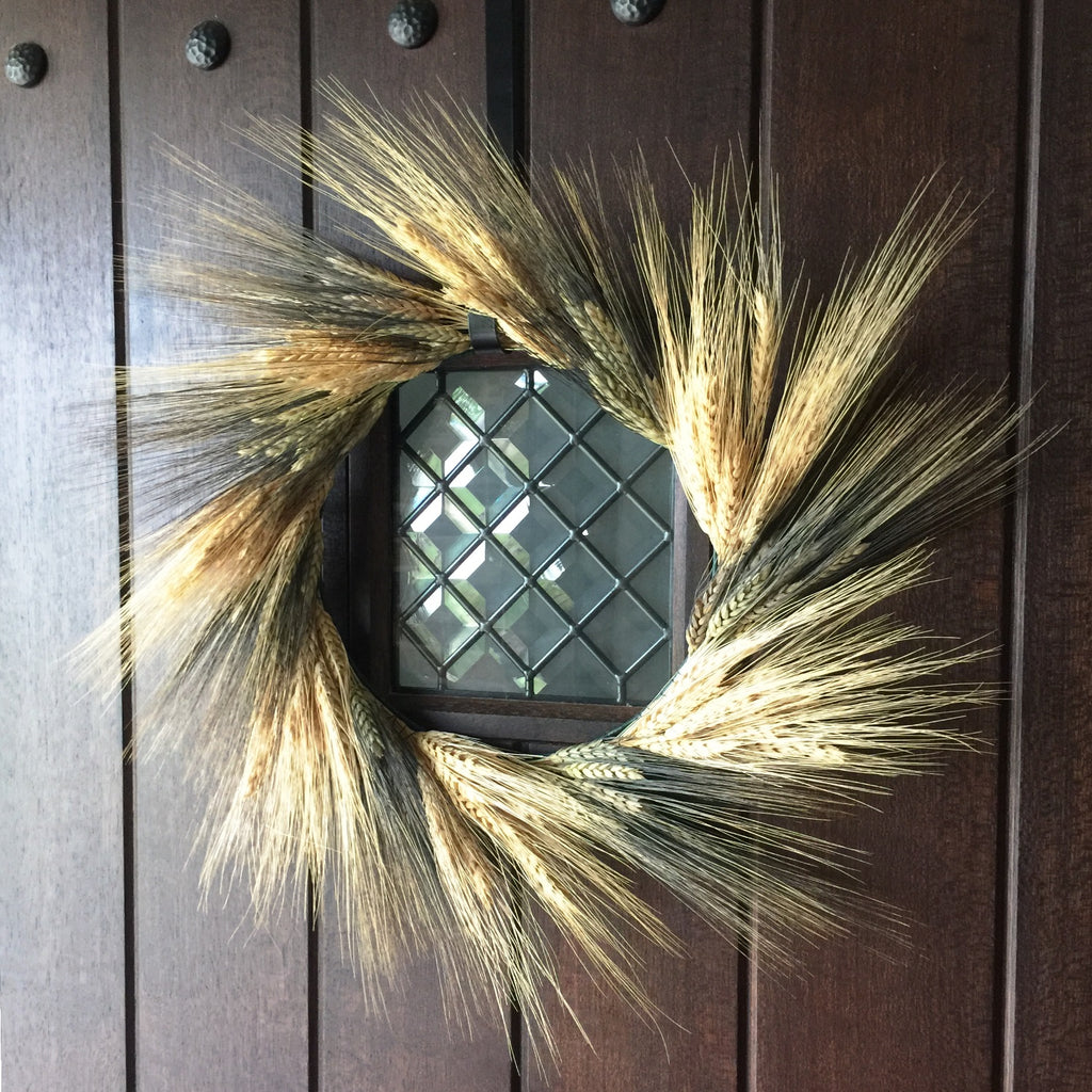 Golden Bearded Wheat Wreath | Wheat Wreath for Fall | Dried Wheat Wreath | Preserved Wheat Wreath | Black Bearded Wheat Wreath | Yellow Bearded Wheat Wreath