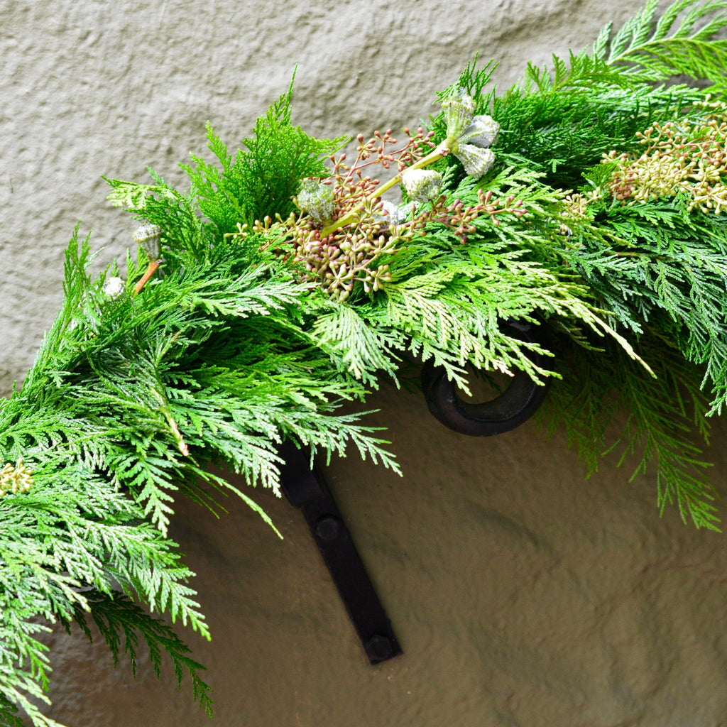 Mendocino Holiday Cedar Garland | Club Botanic | Fresh Holiday Garland for outside | Eucalyptus Garland with Cedar for Christmas | Thanksgiving Garland Decor