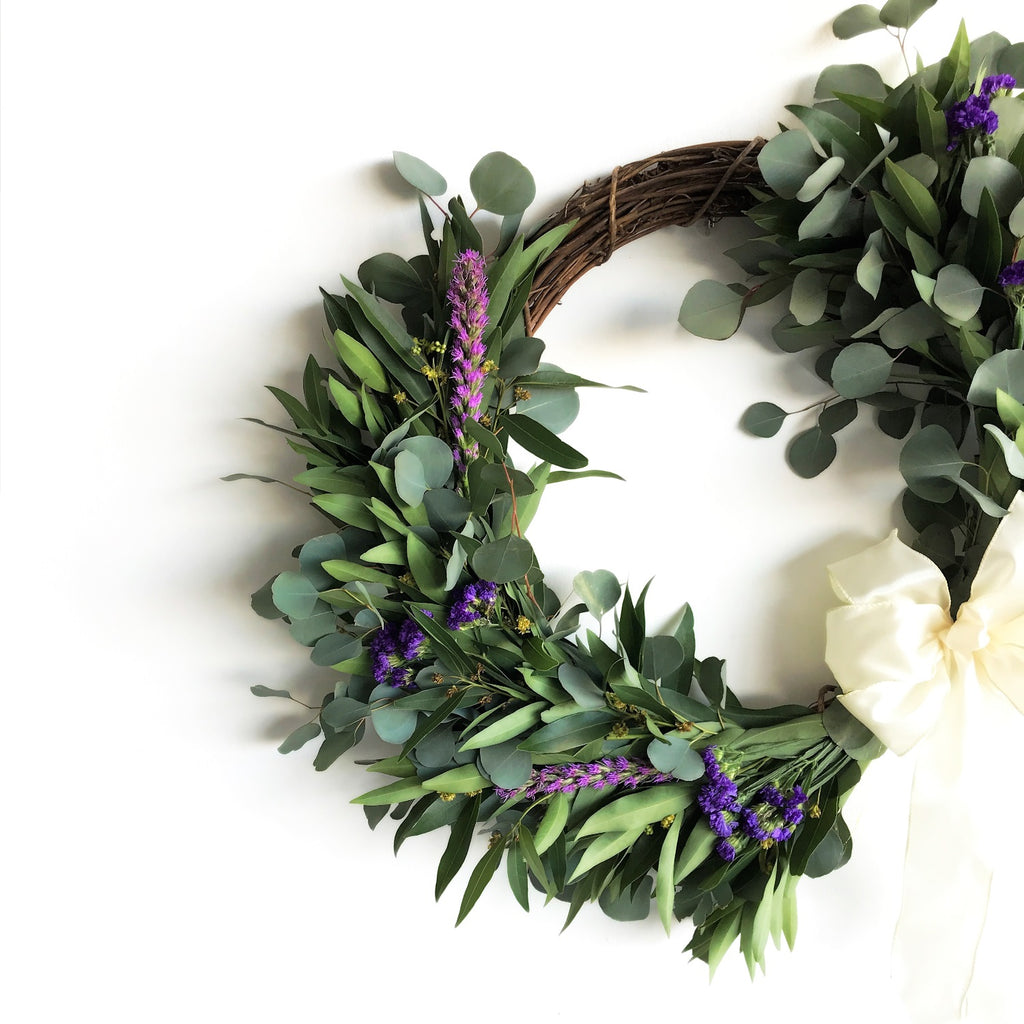 Bodega Bay Crescent Wreath | Club Botanic | Fresh Wreath for Spring | Fall Wreath for Door | Silver Dollar Eucalyptus and Bay Leaf Wreath for Autumn | Liatris Door Wreath | Fresh Purple Statice Wreath | Fresh Bay Wreath for Thanksgiving | Modern Wreath | Fresh Wreath Modern | Liatris Spicata Wreath | Blazing Star Wreath