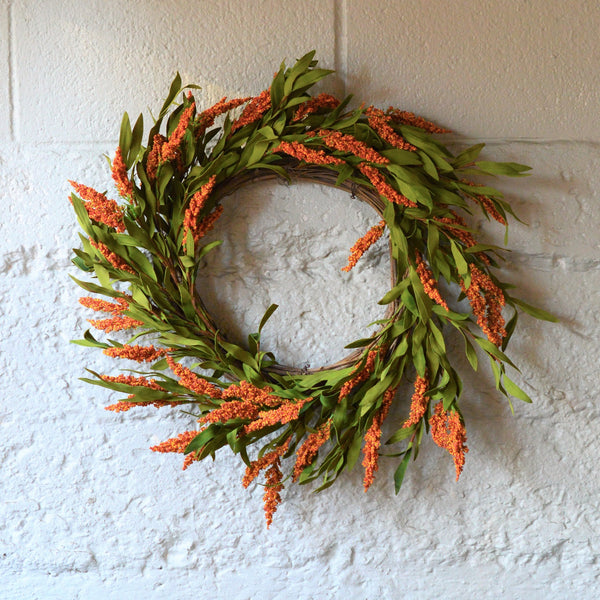 Faux Broom Corn Wreath | Club Botanic | Fall Faux Wreath | Fall Colored Faux Wreath | Artificial Wreath Fall Colors | Brown and Green Wreath for Fall