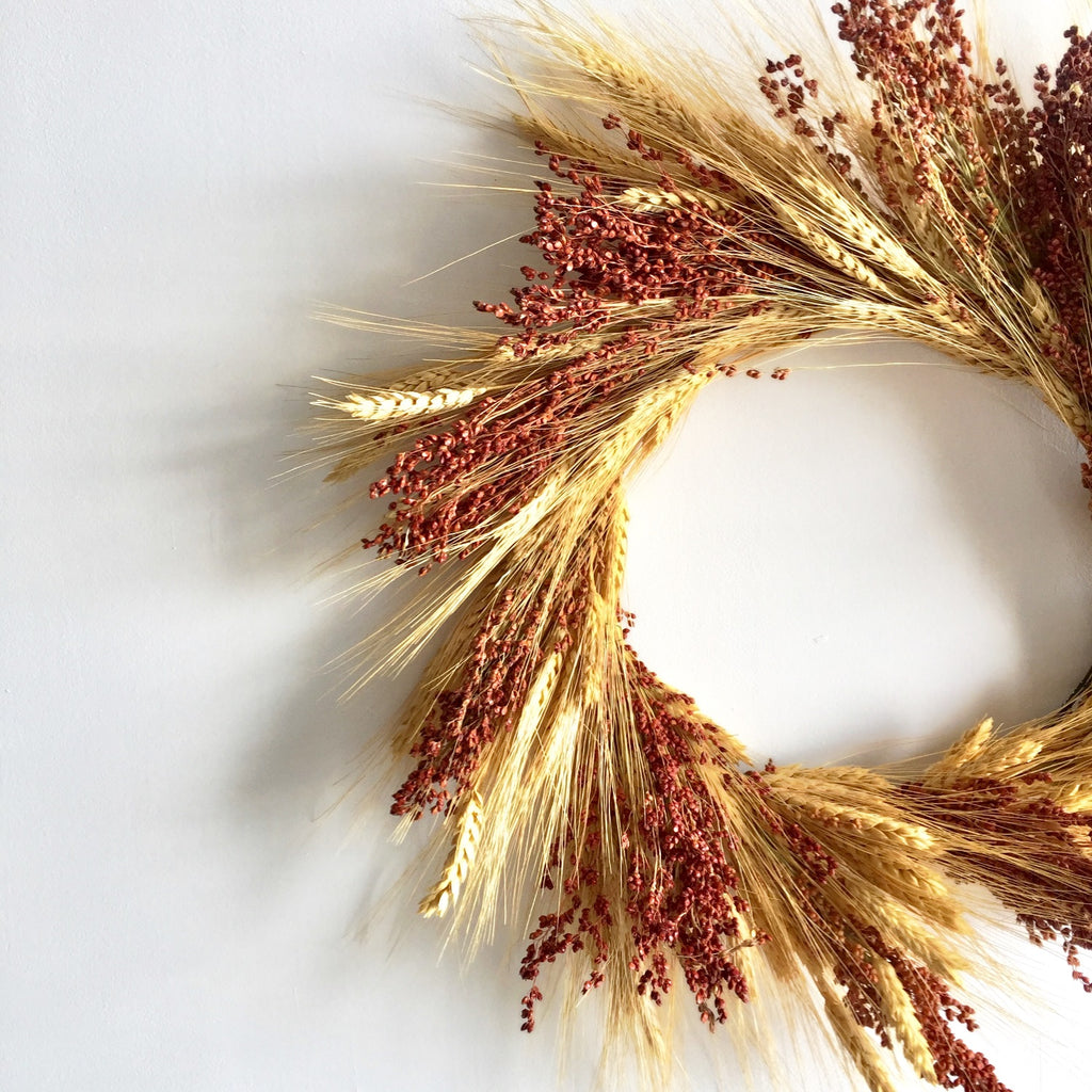 Broomcorn Wreath for Fall | Wheat and Broomcorn Wreath for Fall | Brown Broomcorn Wreath