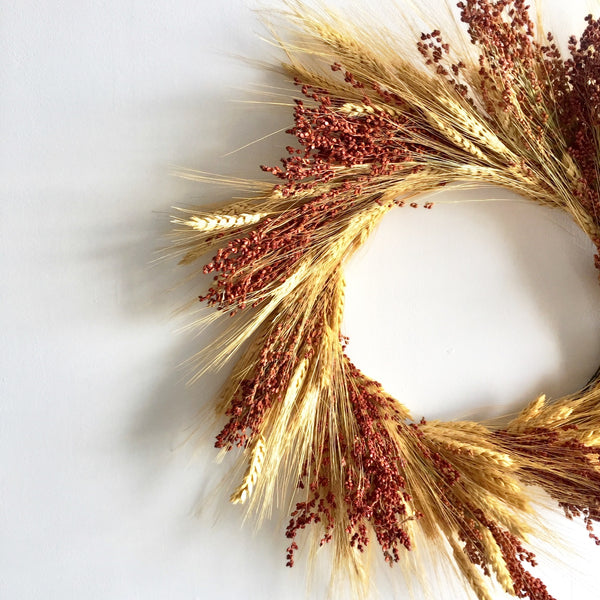 Golden Wheat Wreath with Auburn Broomcorn | Preserved Wheat Wreath for Front Door | Door Wreath for Year Round