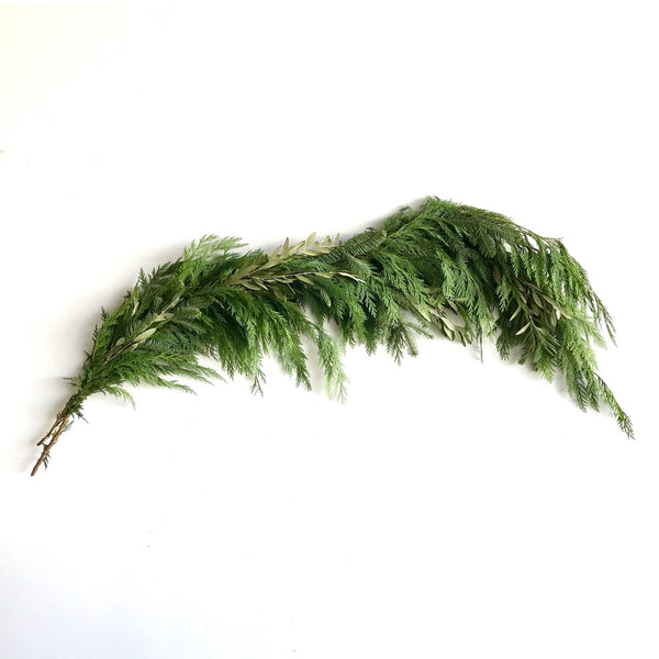 California Greens Holiday Garland | Club Botanic | Fresh Green Garland for Christmas | Cedar Garland for the staircase | Mixed Green Garland with Cedar, Boxwood and Pine draped over staircase banister with wrapped gifts and ribbon