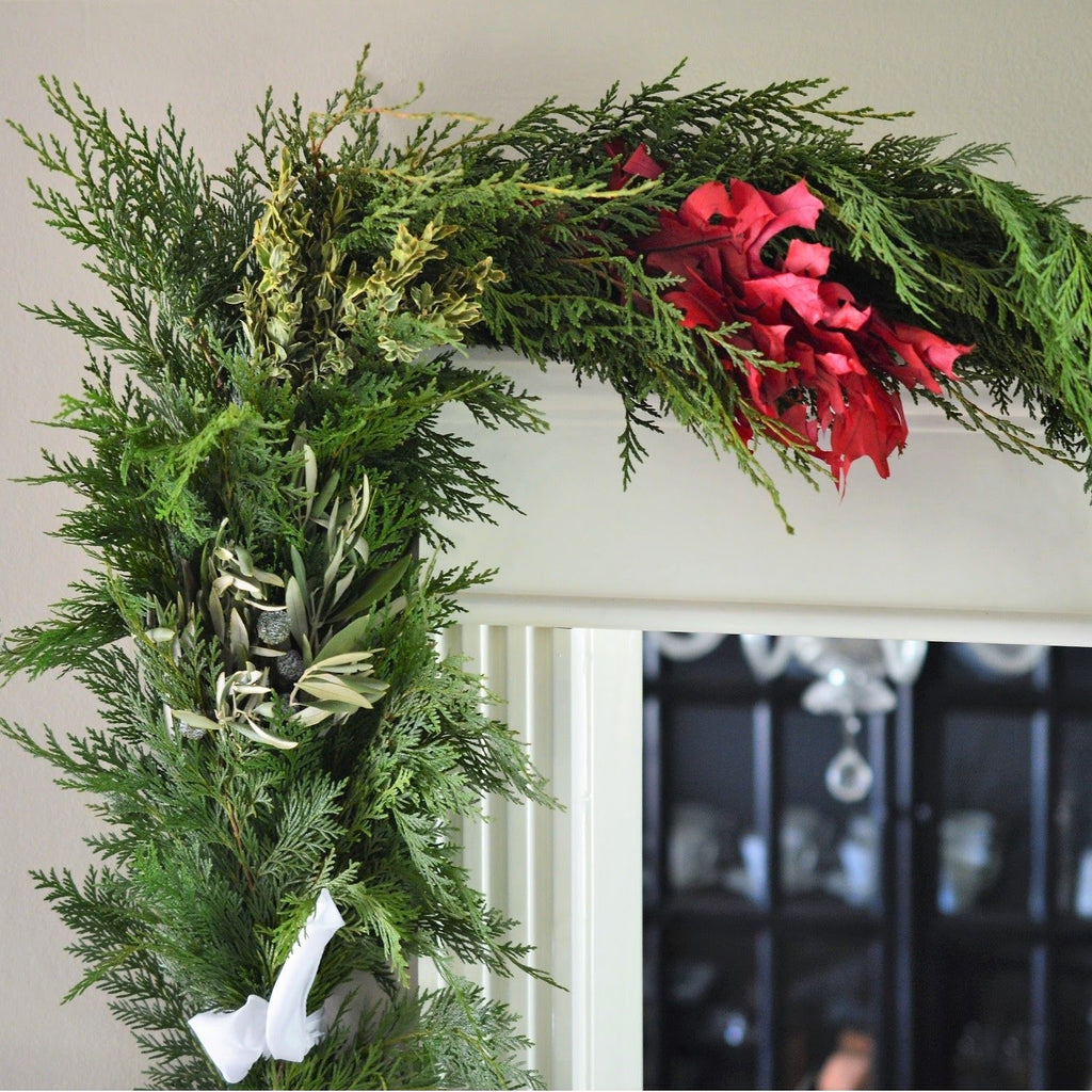 Celebrate Fall Garland | Club Botanic | Fresh Garland for Thanksgiving | Cedar and Red Oak Garland | Garland displayed indoors over door | Garland for indoors | Boxwood Garland with Cedar | Christmas Garland for Door
