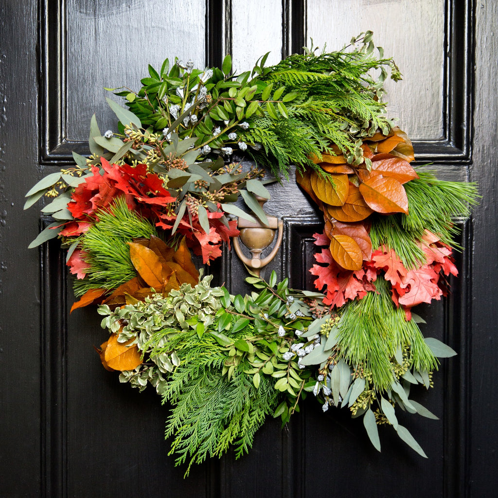 Celebrate Christmas Wreath | Club Botanic | Copper Salal Wreath | Seeded Eucalyptus Wreath | Fresh Cedar Wreath | English Boxwood Wreath | German Boxwood Wreath