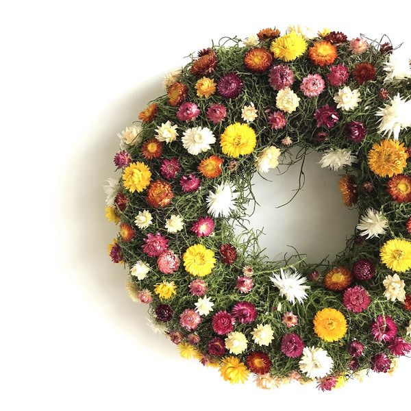 Colorful Strawflower Wreath | Club Botanic Wreath | Moss Wreath | Straw Flower Wreath for Spring | Red Wreath | Yellow Wreath