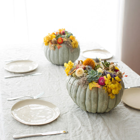 Decorated Pumpkin with dried flowers and succulents as a Thanksgiving Centerpiece