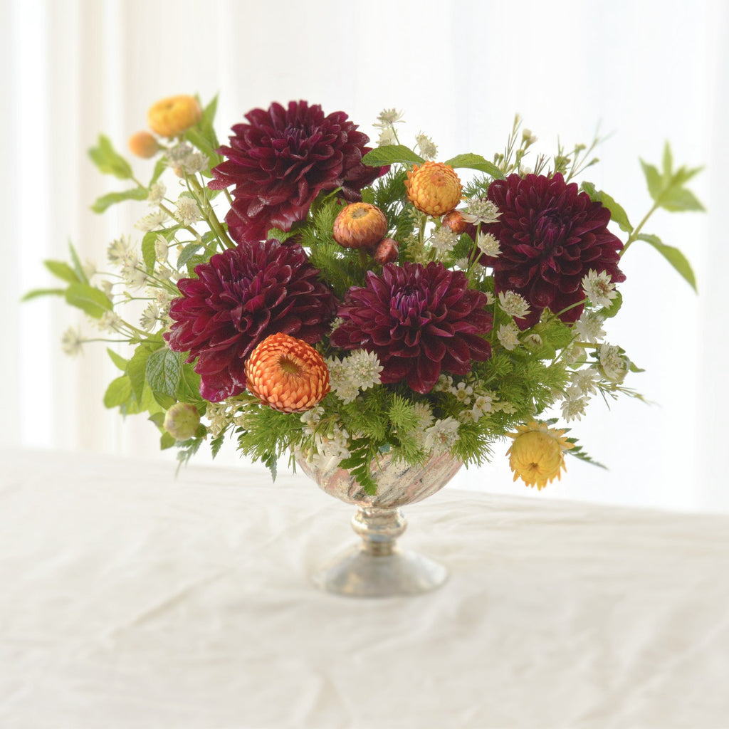 Dahlia Bouquet | Burgundy Dahlia | Sympathy Flowers | Flowers for Funeral | Strawflower | Mint | Ming Fern