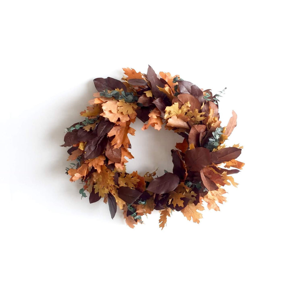 Preserved Salal Wreath | Preserved Leaf Wreath | Preserved Wreath of Leaves for Fall | Autumn Door Wreath Preserved | Fall Door Wreath Preserved | Dried Eucalyptus Wreath | Dried Baby Eucalyptus Wreath
