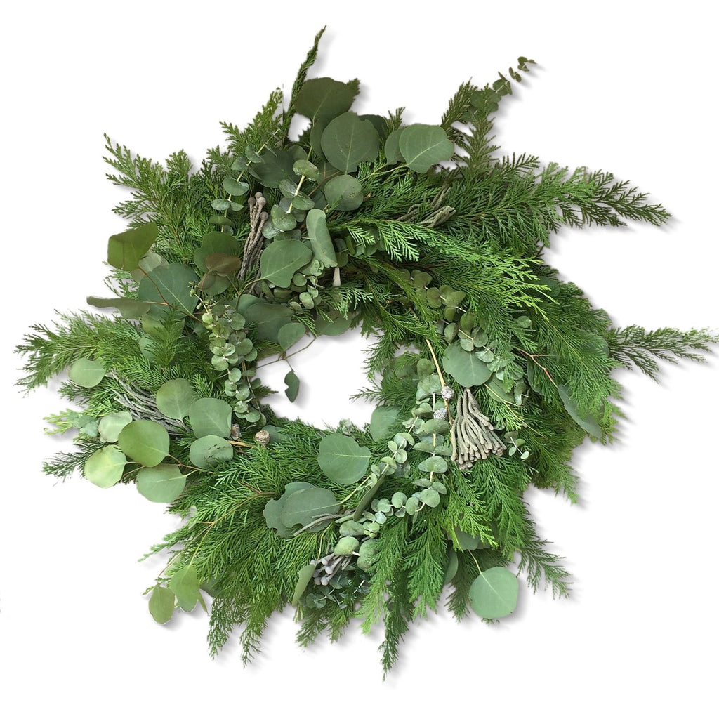 Cole Valley Victorian Wreath | Club Botanic | Cedar Christmas Wreath | Green Cedar and Silver Dollar Eucalyptus Wreath for Christmas | Fresh Christmas Wreath with cedar and baby eucalyptus