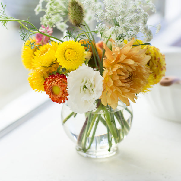 Dahlia Bouquet | Yellow Dahlias | Strawflowers | Yellow Strawflowers | Queen Anne's Lace | Lisianthus | Beautiful Yellow Bouquet