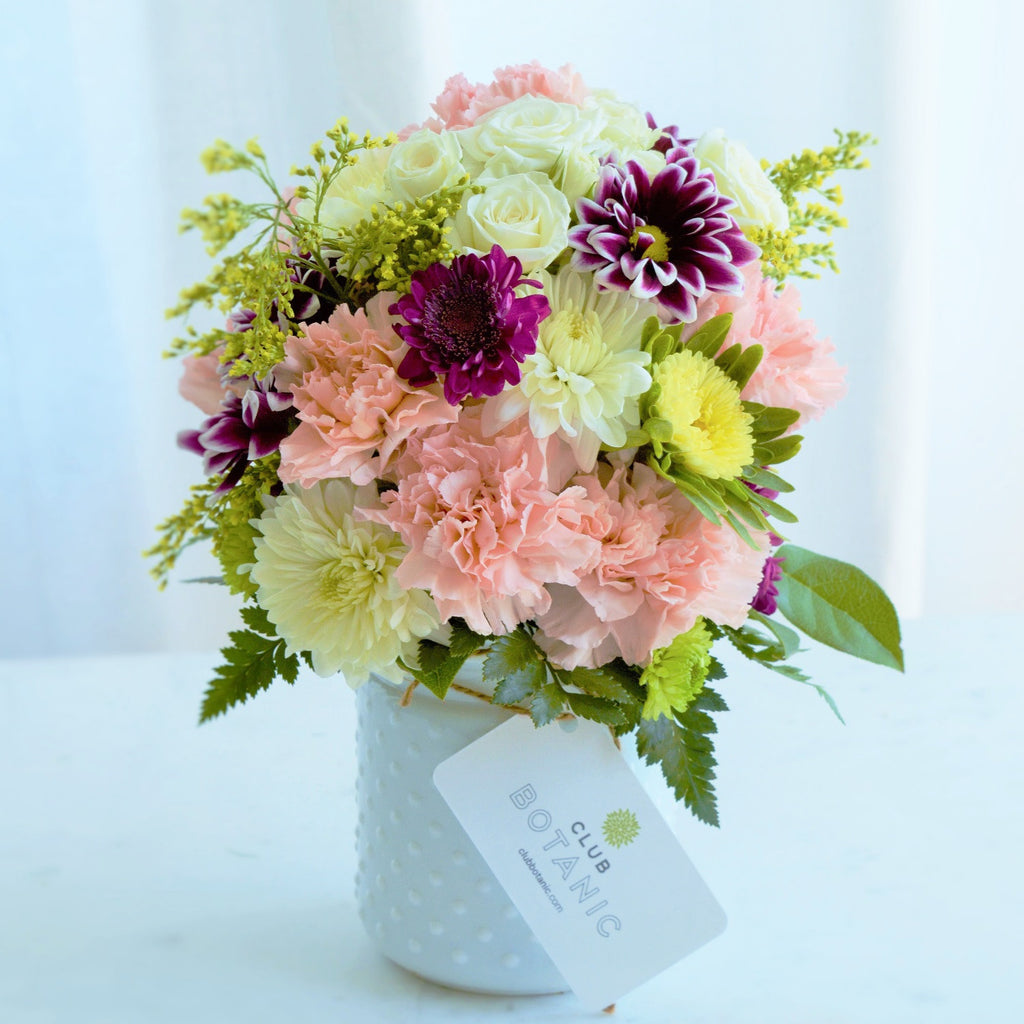 Fresh Flower Bouquet | White Chrysanthemums | Pink Carnations | Violet Mums | Yellow Solidago | Best Birthday Flowers | Get Well Flowers