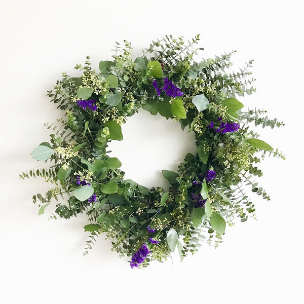 Sea Lavender and Eucalyptus Wreath | Club Botanic | Purple Statice Wreath | Wreath of Baby Eucalyptus | Spring Wreath for Front Door | Sea Lavender Wreath | Purple Wreath for Wedding | Wedding Wreath Seeded Eucalyptus