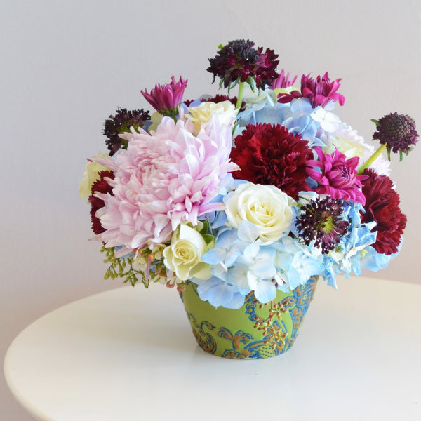 English Garden Bouquet | Violet Spider Mums | Blue Hydrangea | Scabiosa | White Spray Rose | Violet Chrysanthemums