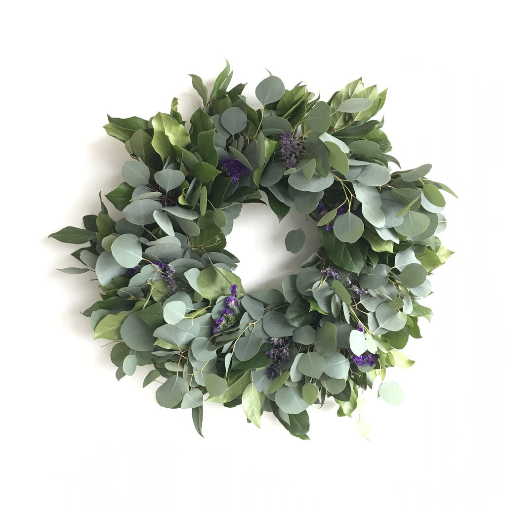 Wreath of the Season Club | Monthly Wreath Service | Wreath of the Month Club | Club Botanic | Silver Dollar Eucalyptus Wreath | Lemon Leaf Wreath | Salal Wreath | Statice Wreath