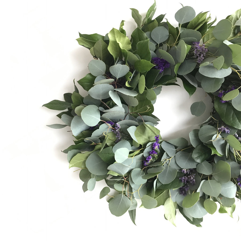 Silver Dollar Wreath | English Statice Wreath | Sea Lavender Wreath | Violet Wreath | Lemon Leaf Salal Wreath