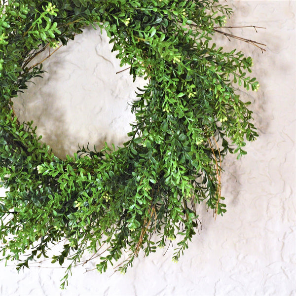 Green Boxwood Wreath | Faux Boxwood Wreath | All Season Boxwood Wreath | Year round wreath for front door