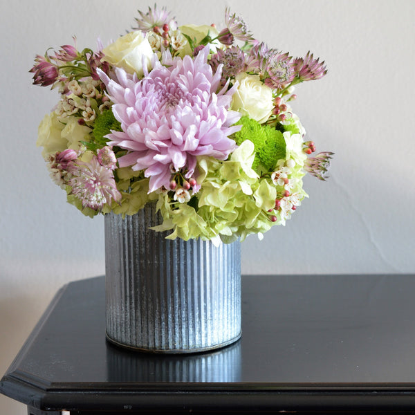 Thank You Flowers | Lavender Spider Mums | Hydrangea | Violet Astratia | White Spray Rose | Flowers in Tin Vase