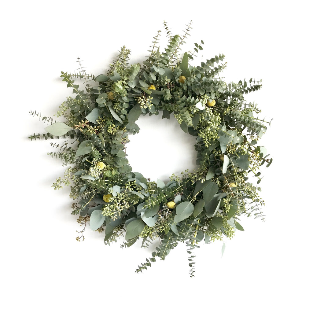 Craspedia and Eucalyptus Wreath | Club Botanic | Yellow Billy Ball Wreath | Wreath of Baby Eucalyptus | Spring Wreath for Front Door | Billy Button Wreath | Yellow Wreath for Wedding | Wedding Wreath Seeded Eucalyptus