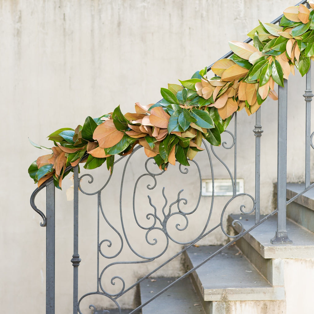 Golden Fresh Magnolia Wedding Garland | Club Botanic | Magnolia Leaf Garland Fresh | Outdoor Garland for Christmas | Garland for Staircase | Decorative Garland Magnolia | Real Magnolia Leaf Garland
