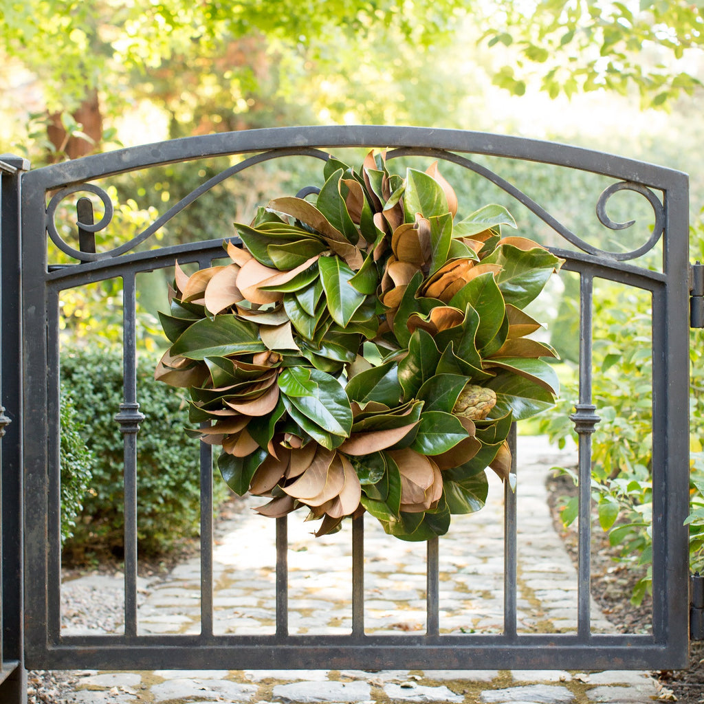 | Golden Magnolia Wreath | Club Botanic | Magnolia Fresh Wreath | Golden and Green Magnolia Wreath | Fresh Magnolia Wreath hung on wrought iron gate | Wreath magnolia on wrought iron fence