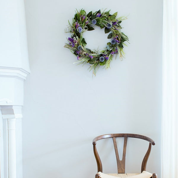 Dried Grevillea and Globe Thistle Wreath | Club Botanic | Salal Wreath | Preserved Wreath Salal | Lemon Leaf Wreath