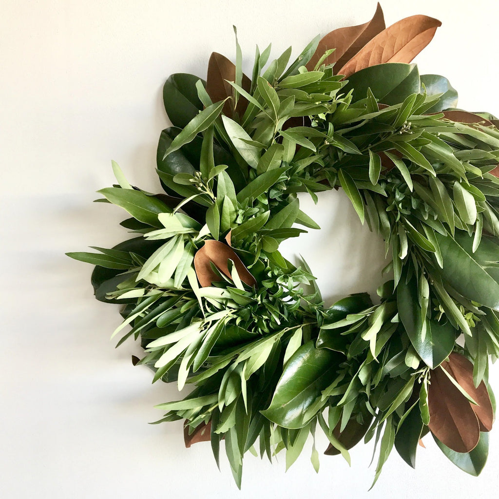 Guthrie Green Wreath | Club Botanic | Sympathy Wreath | Fresh Wreath for Christmas | Magnolia Leaf Wreath | Bay Leaf Wreath for the Door | Green Boxwood Wreath