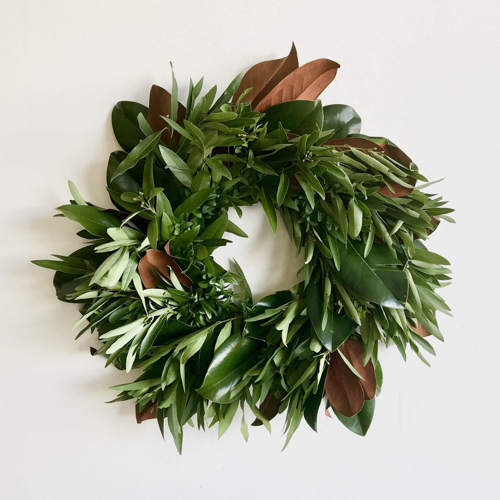 Guthrie Green Wreath | Club Botanic | Magnolia and Bay Wreath | Christmas Wreath | Holiday Wreath | Thanksgiving Wreath | Wreath for Thanksgiving | Fall Wreath | Memorial Wreath | Congratulations Wreath