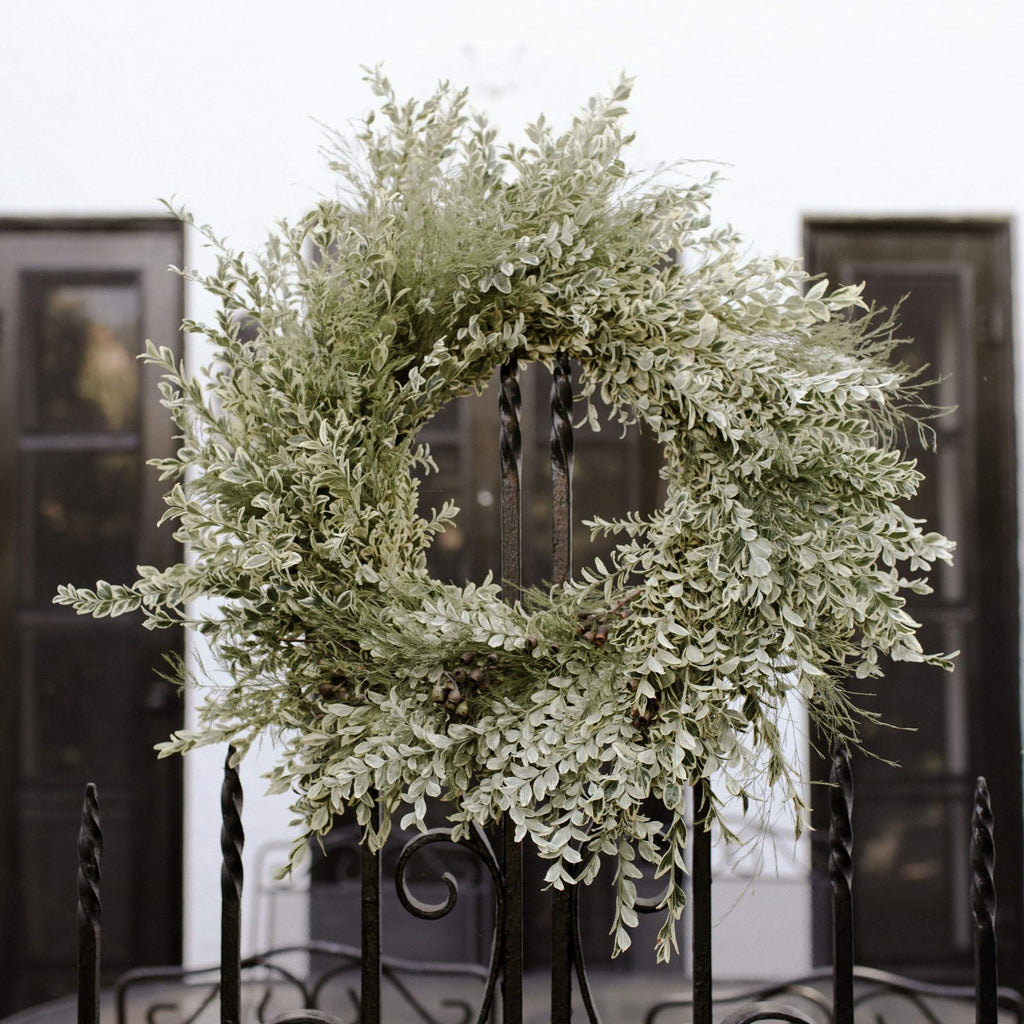 Half Moon Bay Villa Wreath | Club Botanic | Boxwood Christmas Wreath | Variegated Boxwood and Eucalyptus Pod Wreath for Christmas | Fresh Christmas Wreath with tree fern, boxwood and eucalyptus | Memorial Wreath | Funeral Wreath