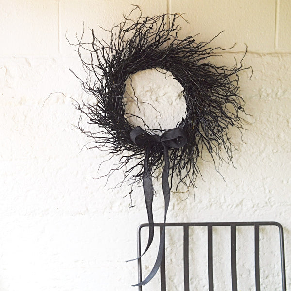 Black Halloween Wreath | Wreath for Halloween Black | Black Painted Wreath for Halloween | Black Curly Willow Wreath